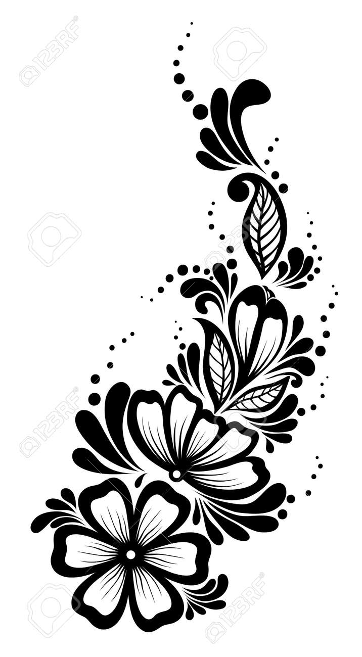 Beautiful floral element Black-and-white flowers and leaves design element Floral design element in retro style Many similarities to the author - 22032845