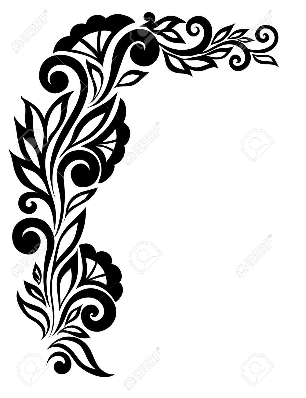beautiful black-and-white lace flower in the corner. With space for your text and greetings. Many similarities in the profile of the artist Stock Vector - 22028251