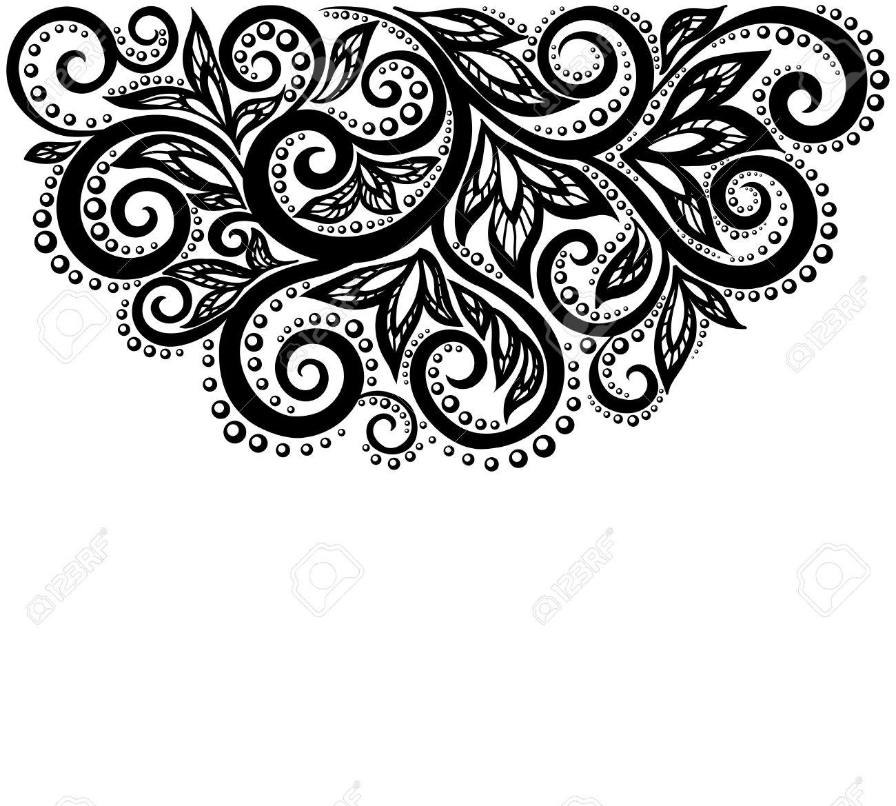 Blanco Y Negro Flores De Encaje Y Hojas Aisladas En Blanco Elemento