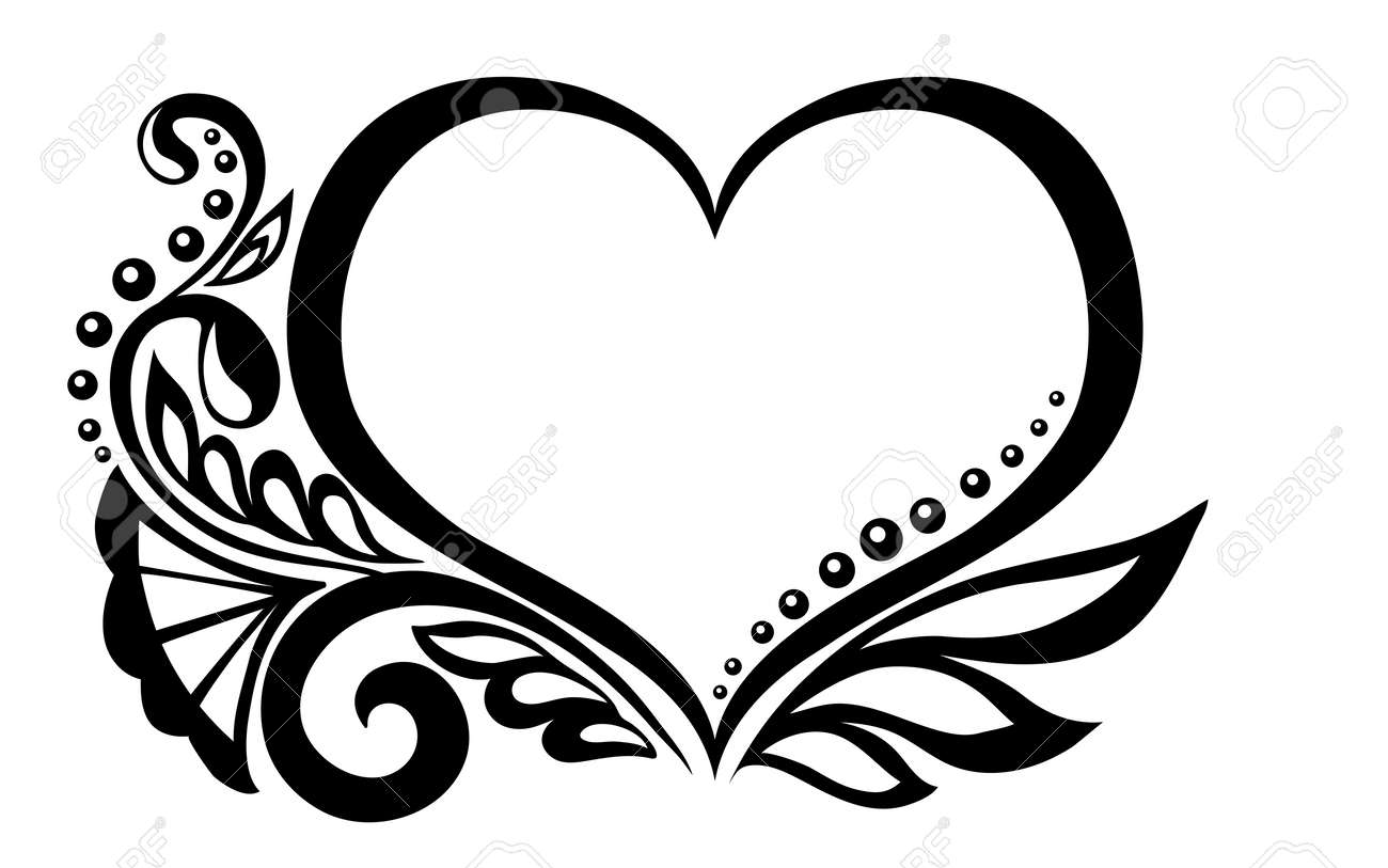 Black and white symbol of a heart with floral design and butterfly black and white symbol of a heart with floral design and butterfly many biocorpaavc Image collections