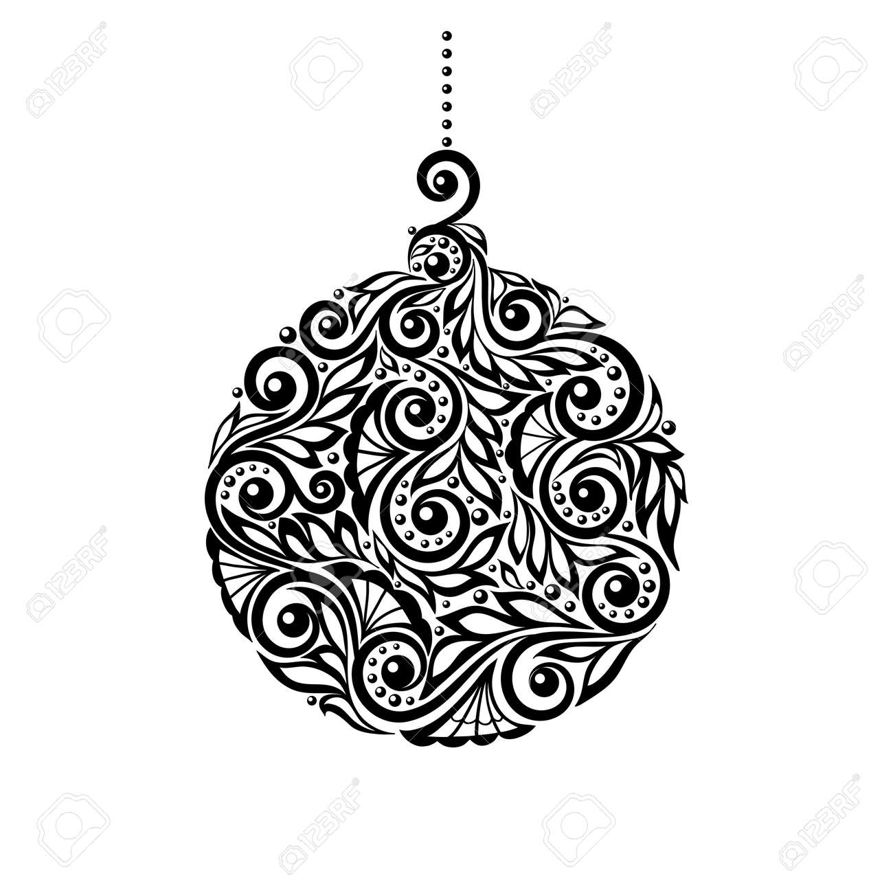 Black And White Christmas Ball With A Floral Design Many Similarities To The Authors Profile