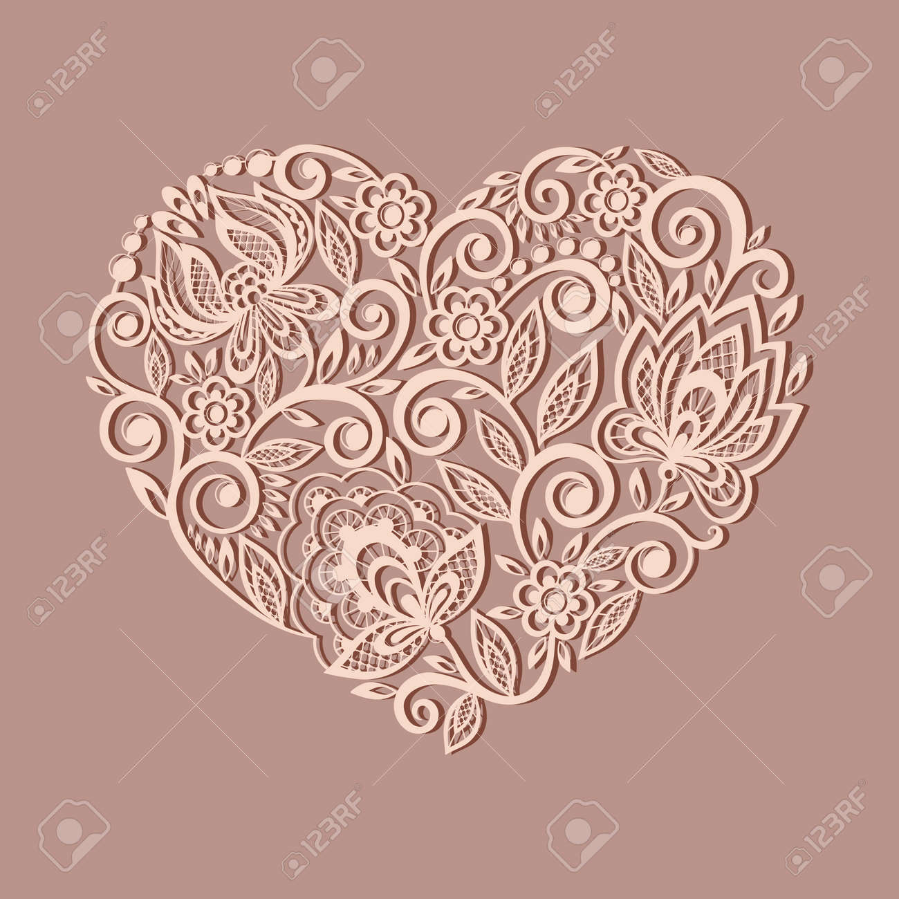 silhouette of the heart symbol decorated with floral pattern, a design element in the old style. Many similarities to the author's profile - 23060657