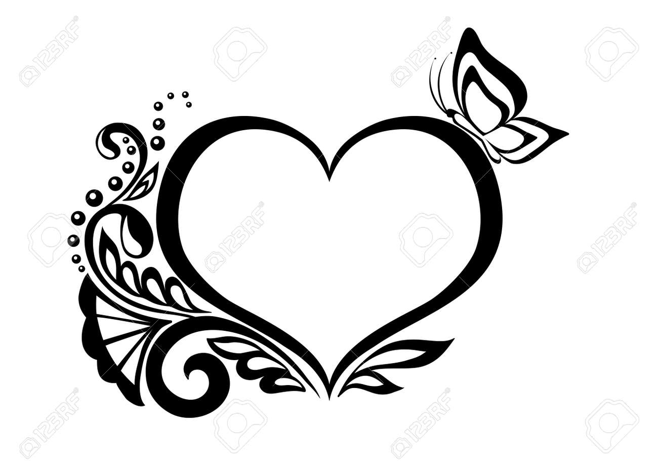 black-and-white symbol of a heart with floral design and butterfly