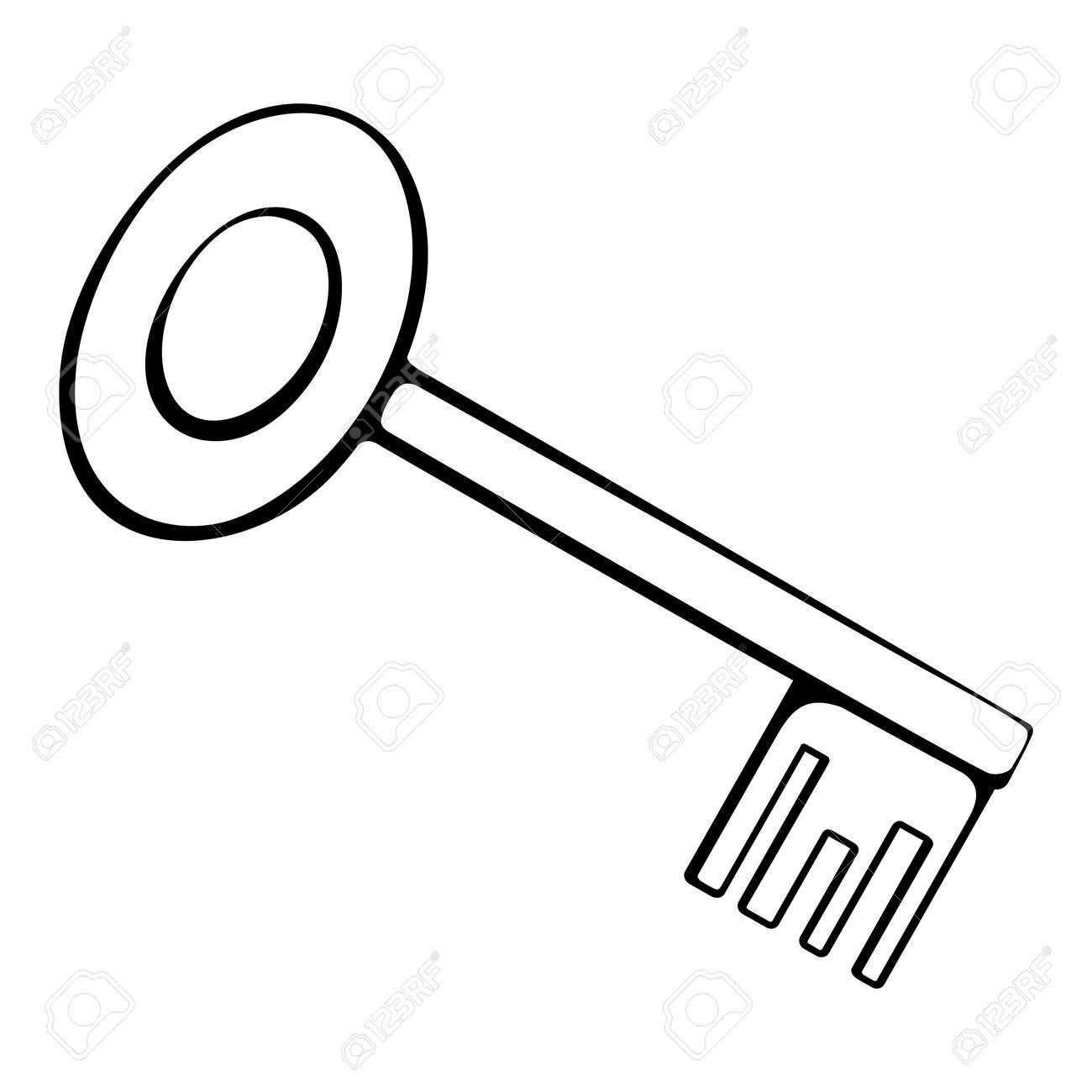 black and white outline of the key Stock Vector - 24167873