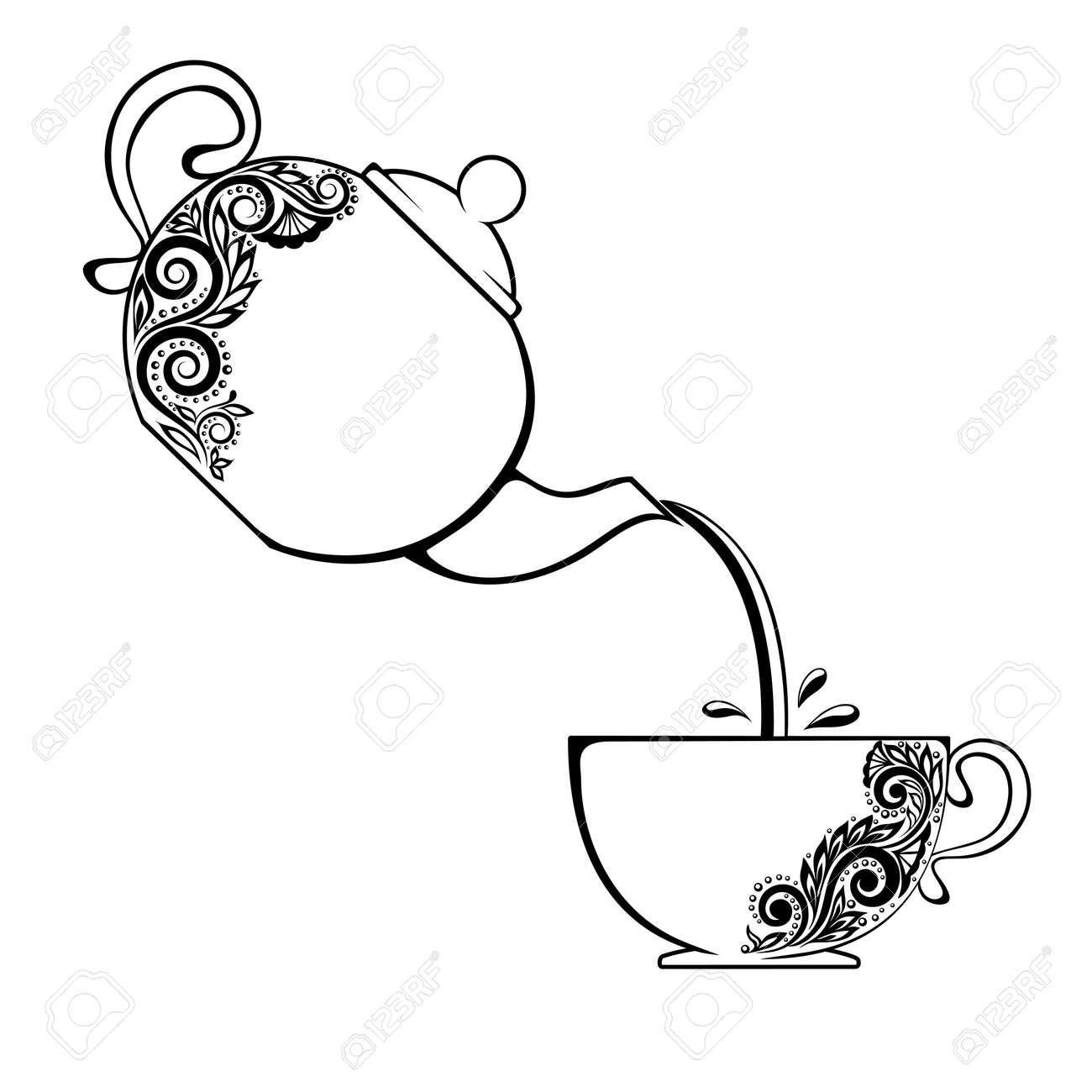 The contour of the Cup and teapot with floral element. - 24167891