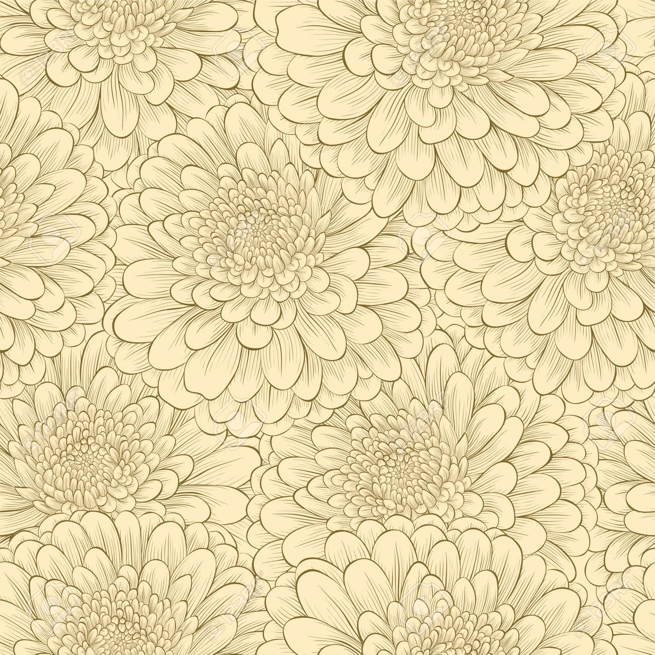 Beautiful seamless pattern with hand-drawn flowers in vintage colors - 25651459