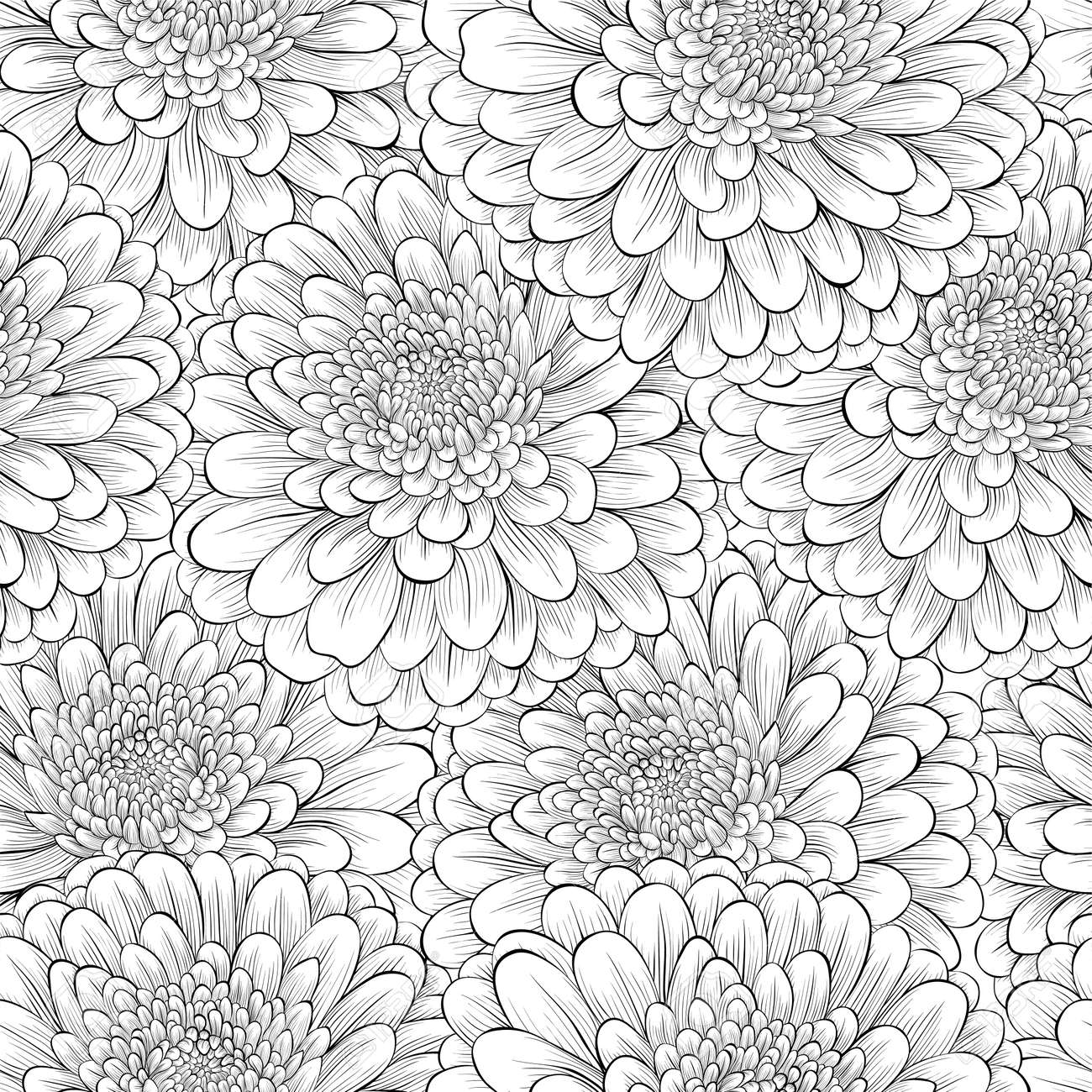 Beautiful seamless background with monochrome black and white beautiful seamless background with monochrome black and white flowers hand drawn contour lines and mightylinksfo