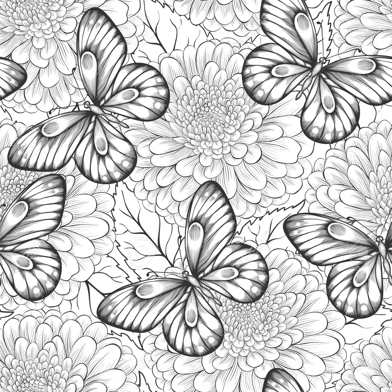 beautiful black and white seamless pattern with flowers and