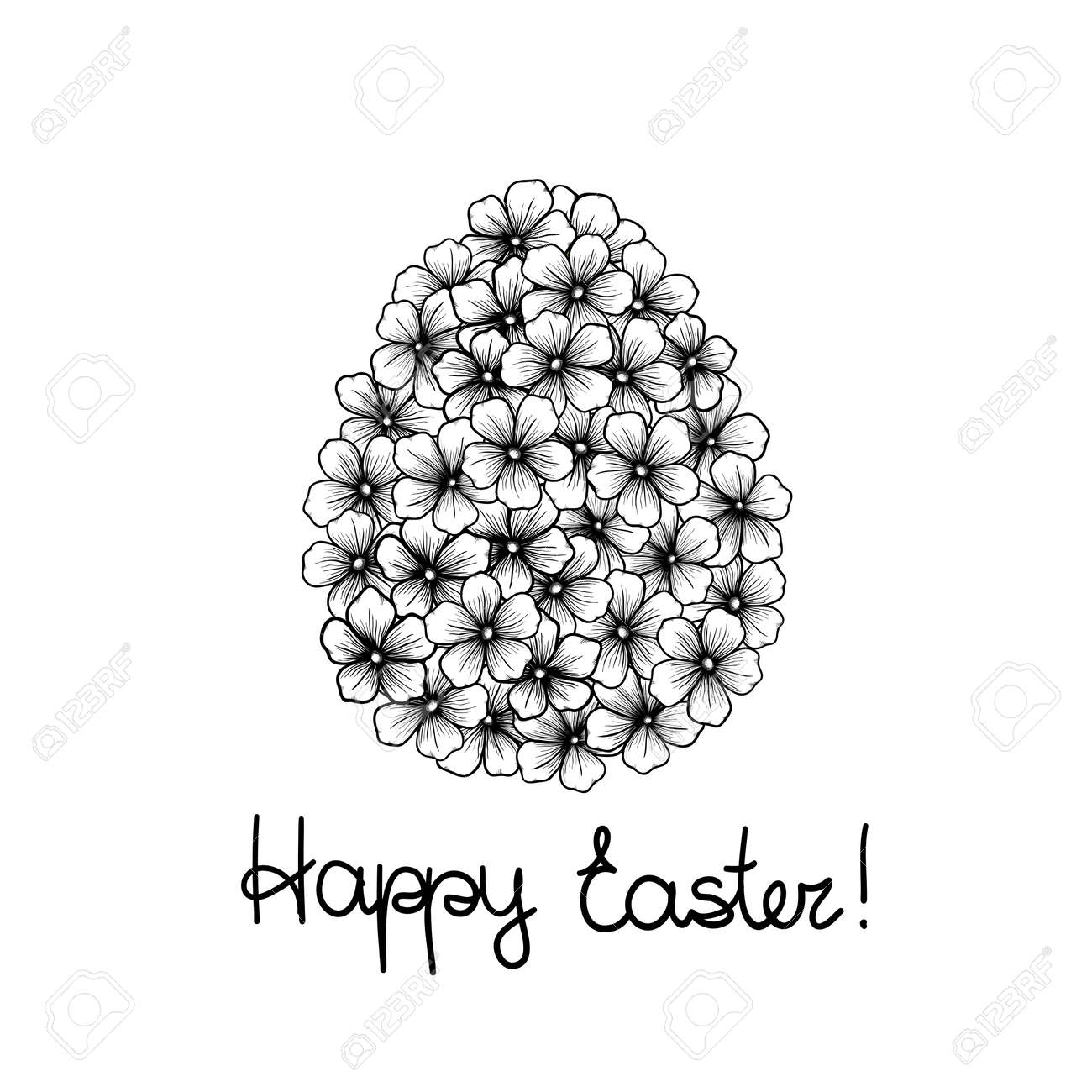 Beautiful monochrome black and white easter greeting card with beautiful monochrome black and white easter greeting card with flowers graphics in the form of eggs m4hsunfo