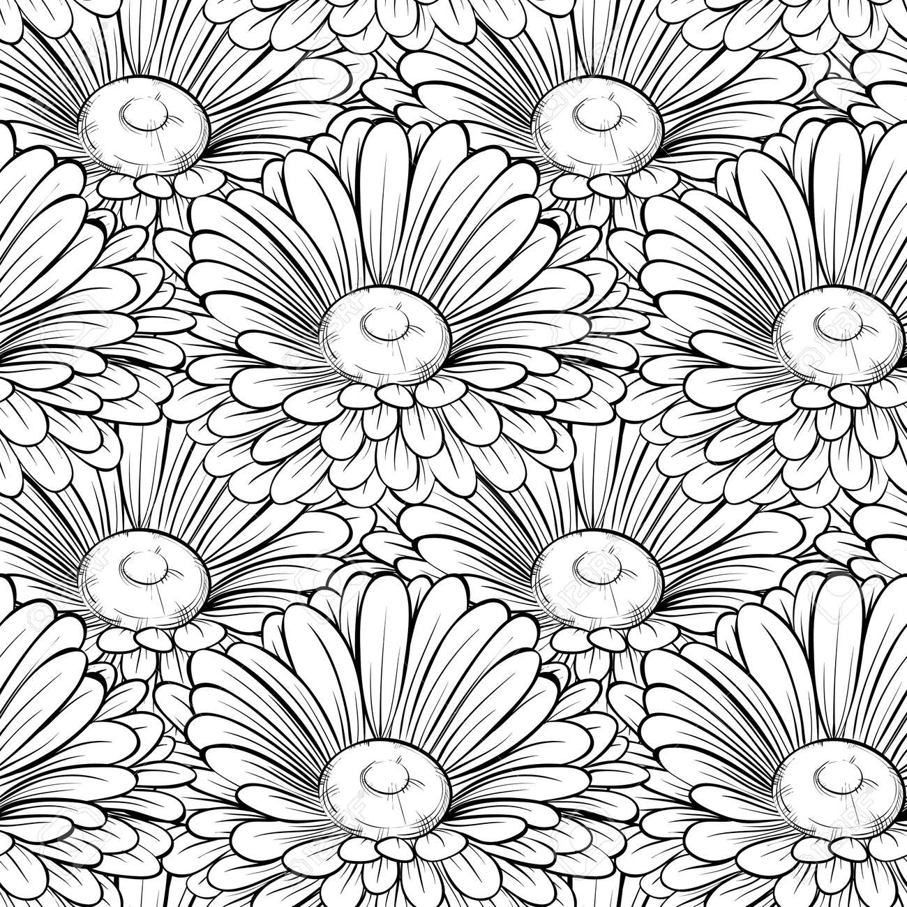 Beautiful seamless background with monochrome black and white beautiful seamless background with monochrome black and white flowers hand drawn contour lines and strokes mightylinksfo