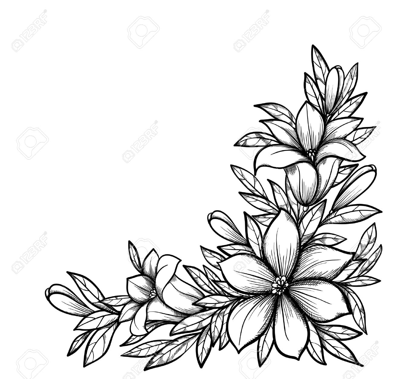 Beautiful black and white branch with flowers drawn in graphical retro style perfect for background greeting