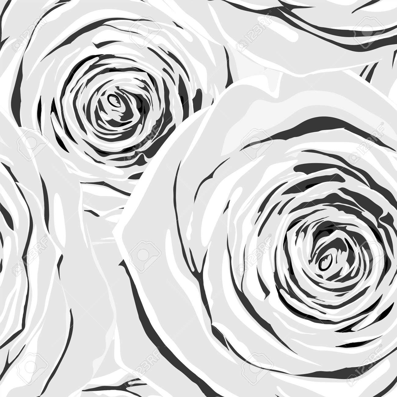 Belle Monochrome Noir Et Blanc Sans Soudure De Fond Avec Des Fleurs Dessiné à La Main Avec Effet De Dessin à Laquarelle