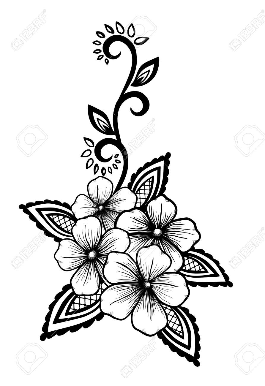 Beautiful floral element black and white flowers and leaves beautiful floral element black and white flowers and leaves design element floral mightylinksfo