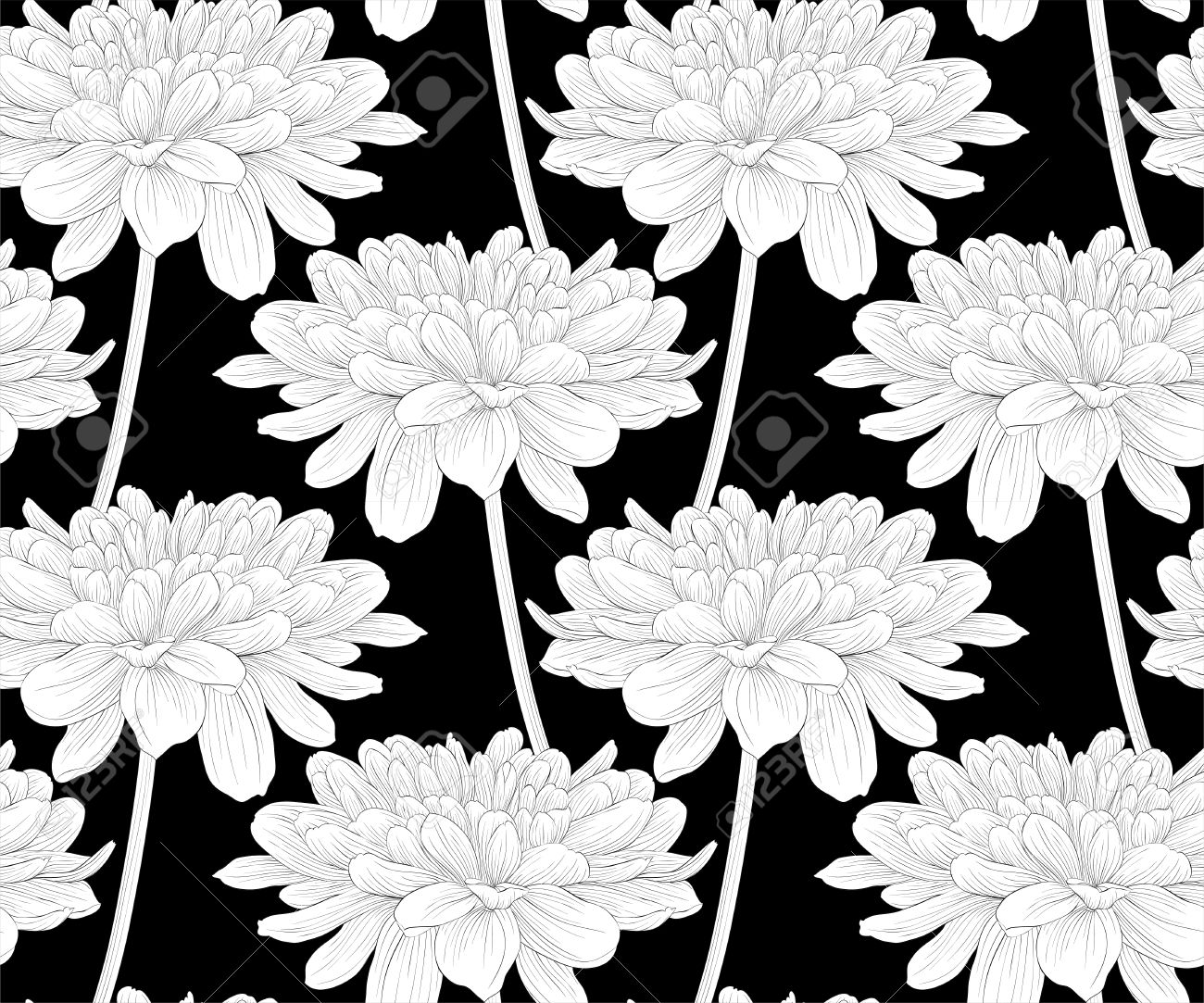 Black Line Flower Drawing : Black line drawing rose toile on off white die cut flower