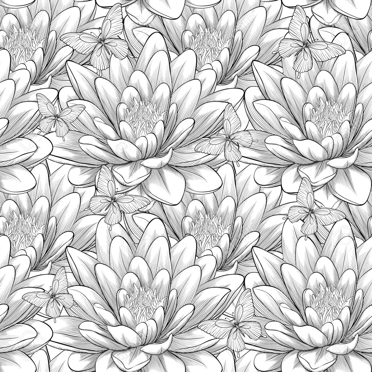 Beautiful Monochrome, Black And White Seamless Pattern With Lotus ...