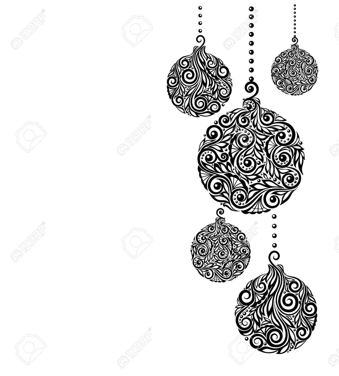 Belle Monochrome Noir Et Blanc Fond De Noel Avec Des Boules De Noel Suspendus Ideal Pour Les Cartes De V Ux Clip Art Libres De Droits Vecteurs Et Illustration Image 34554267