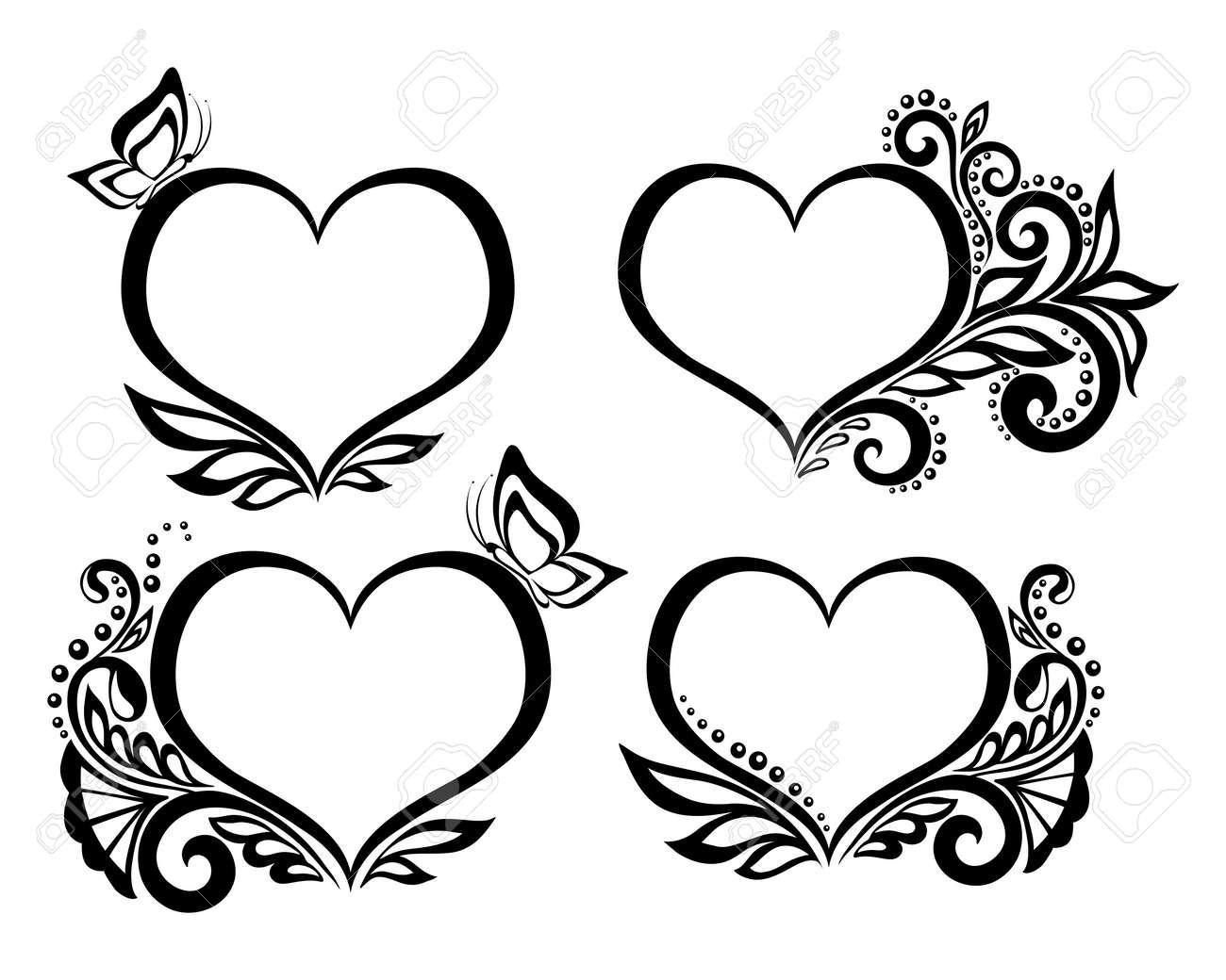 banque dimages ensemble de beau symbole noir et blanc dun coeur avec motif floral et papillon pour les cartes de vux et des invitations de mariage