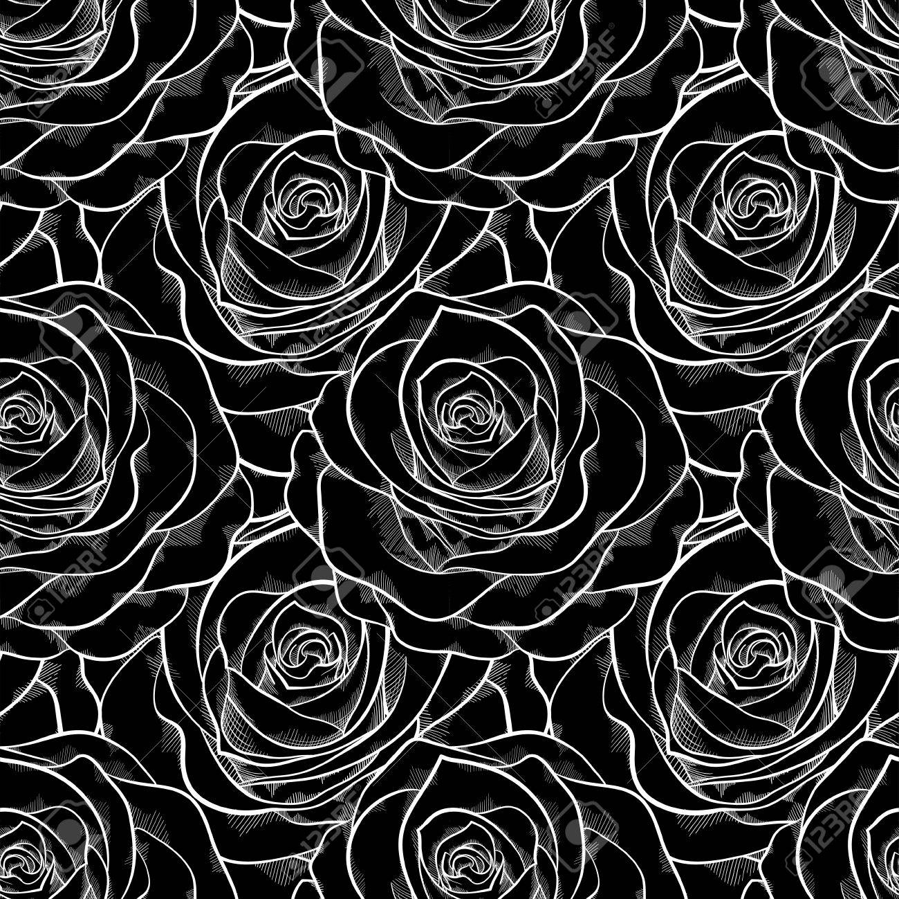 Beautiful black and white seamless pattern in roses background for design for greeting card and