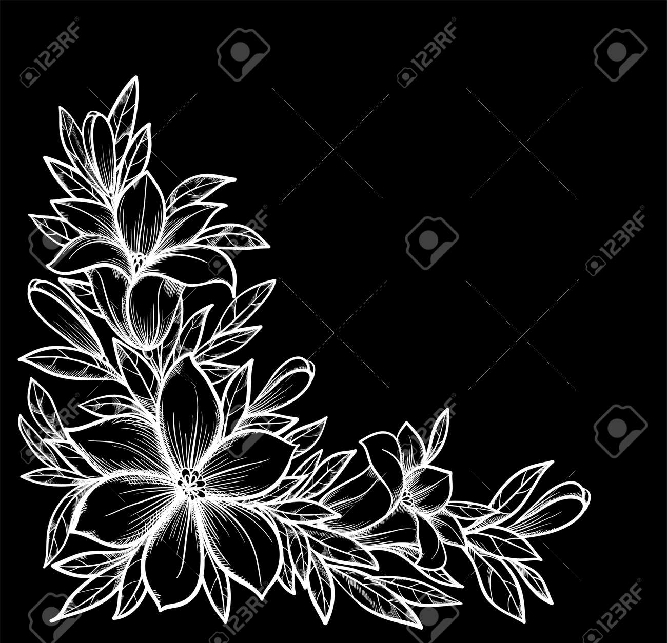 Beautiful black and white branch with flowers background for design for greeting card and invitation