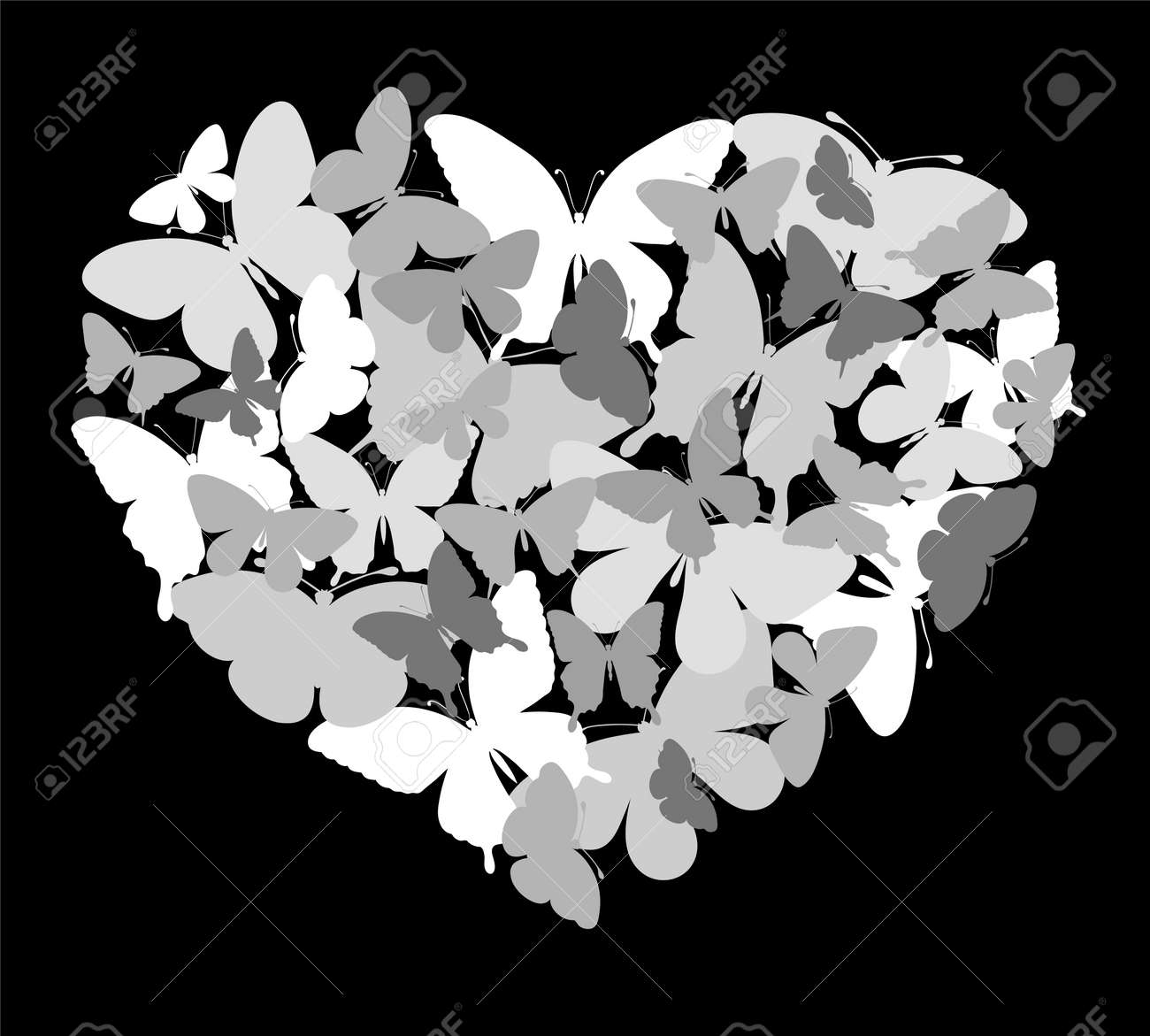Beautiful black and white silhouette heart of butterflies flying background for design greeting card and