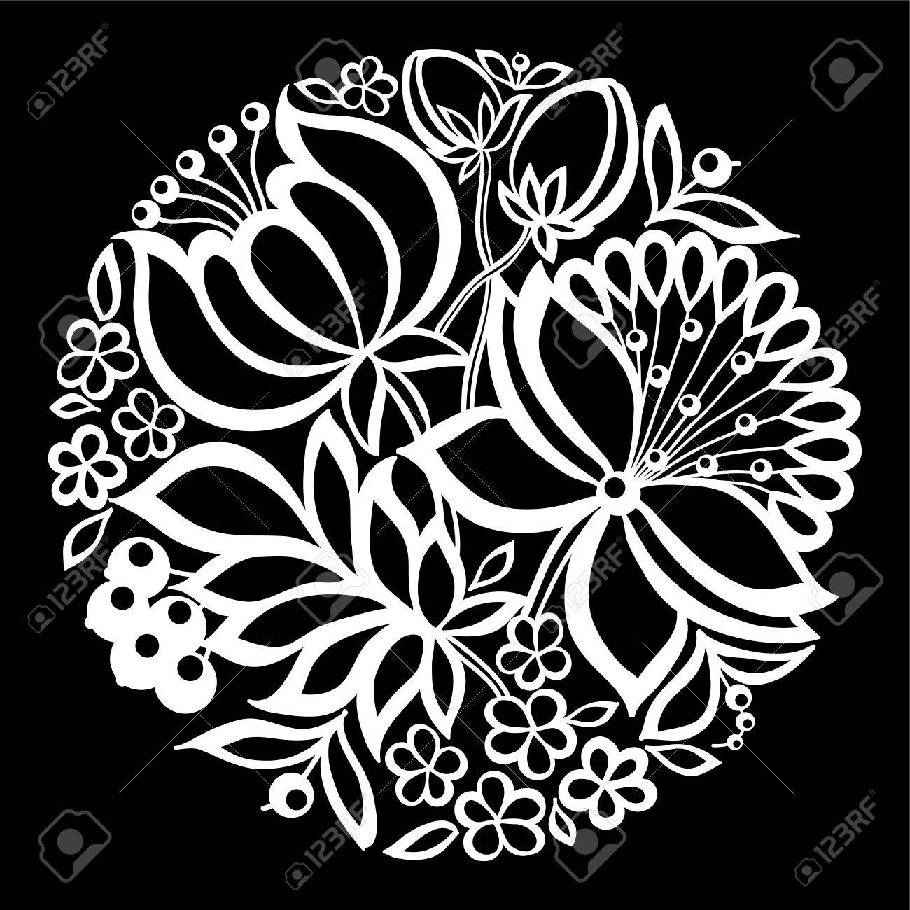 beautiful monochrome black and white flowers and leaves isolated. Floral design for greeting card and invitation of wedding, birthday, Valentine's Day, mother's day and seasonal holiday - 54699891