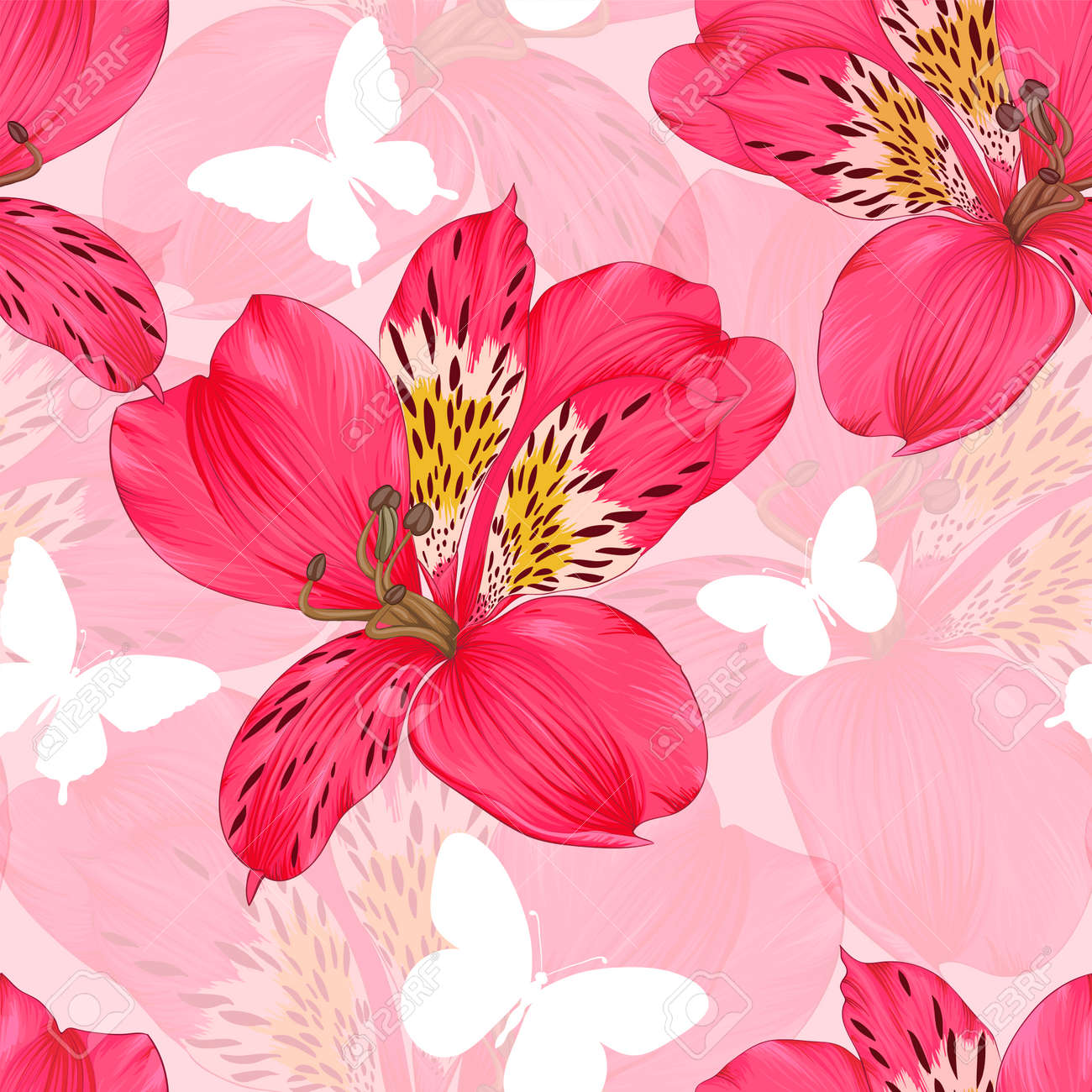 Beautiful seamless background with pink and red alstroemeria beautiful seamless background with pink and red alstroemeria flower design greeting card and invitation of mightylinksfo
