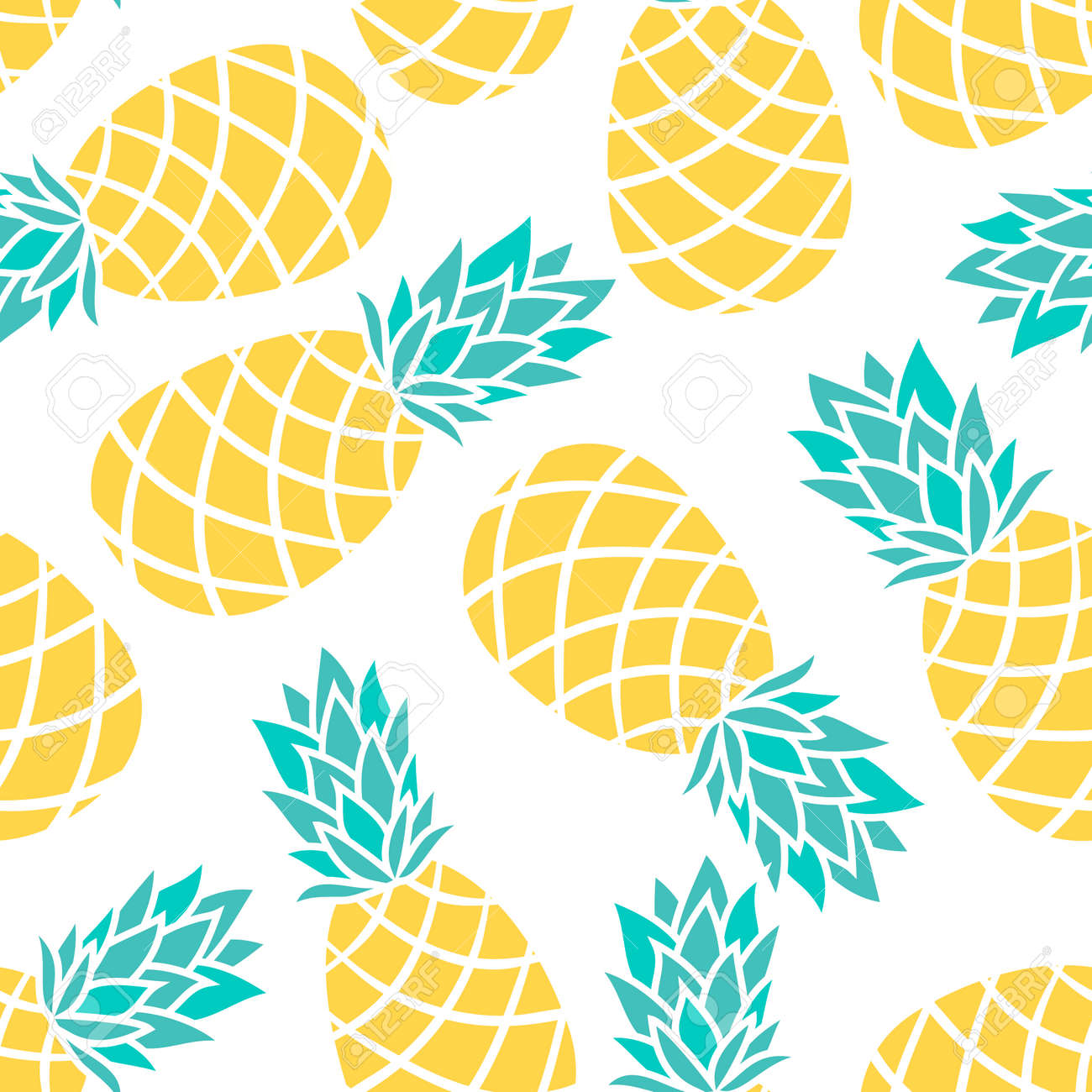 Cartoon Pineapple On A White Background Simple Vector Cute Summer Pattern Seamless Textile Illustration