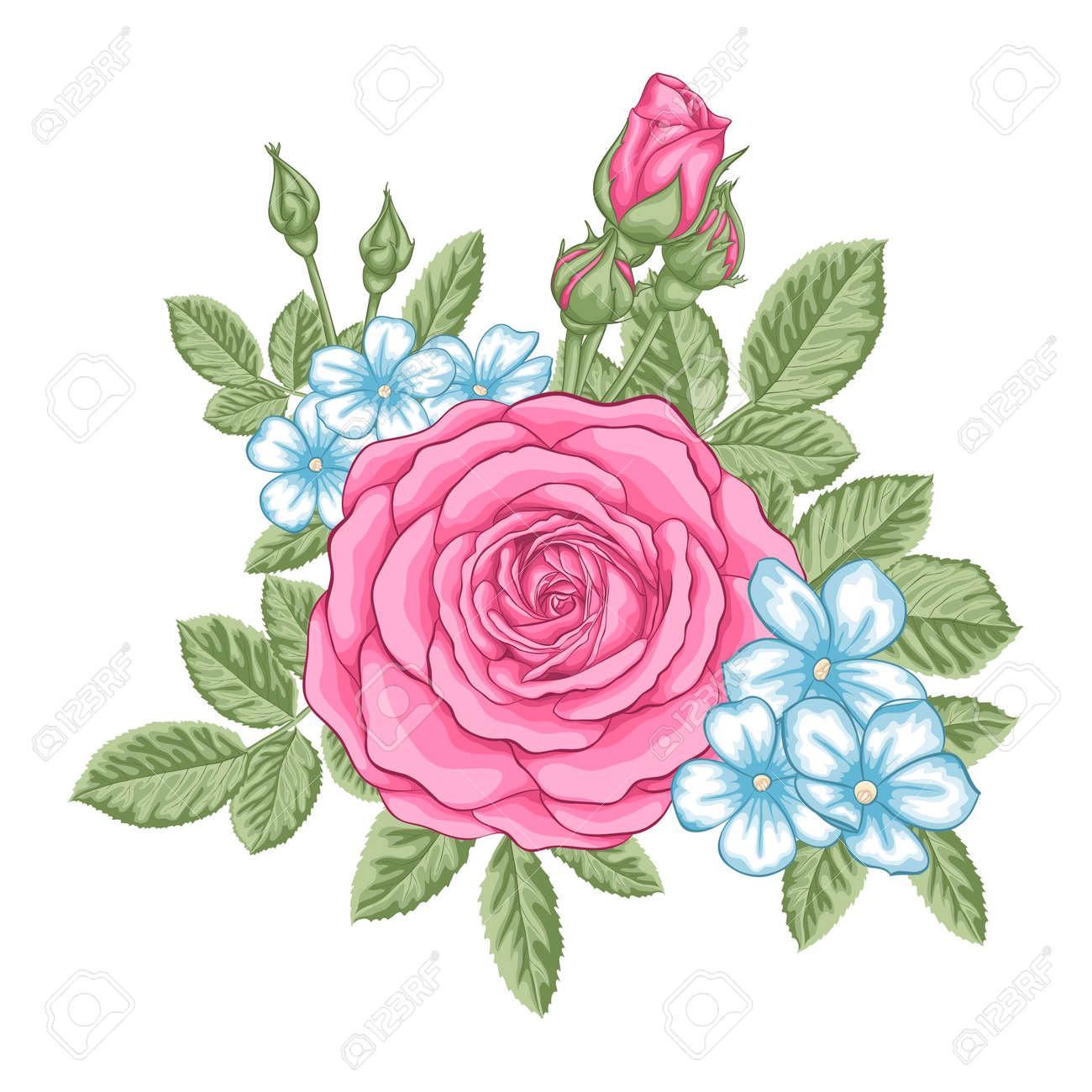 Hermoso Ramo De Rosas Rojas Y Hojas Arreglo Floral Tarjeta De Felicitación Del Diseño Y La Invitación De La Boda Cumpleaños San Valentín El Día