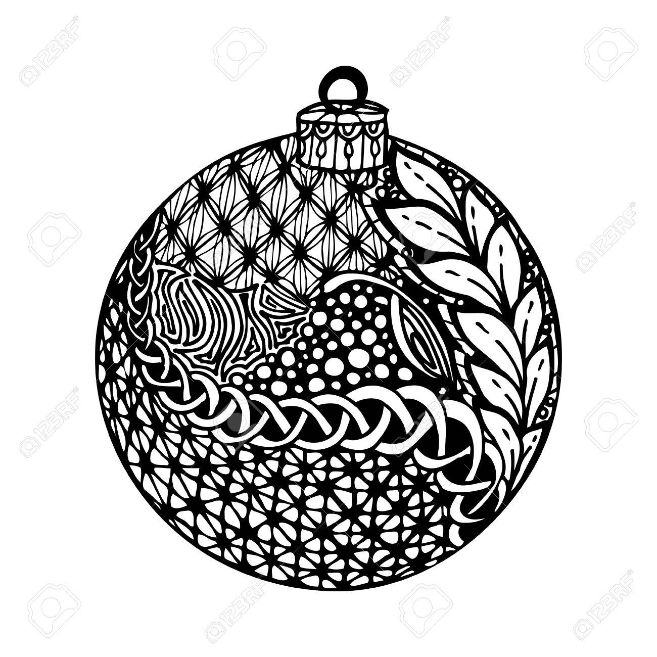 Beautiful Monochrome Black And White Christmas Ball Hand Drawn Design For Background Holiday