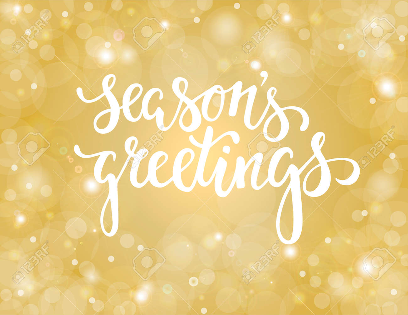 Handdrawn Lettering Seasons Greetings Design For Holiday Greeting