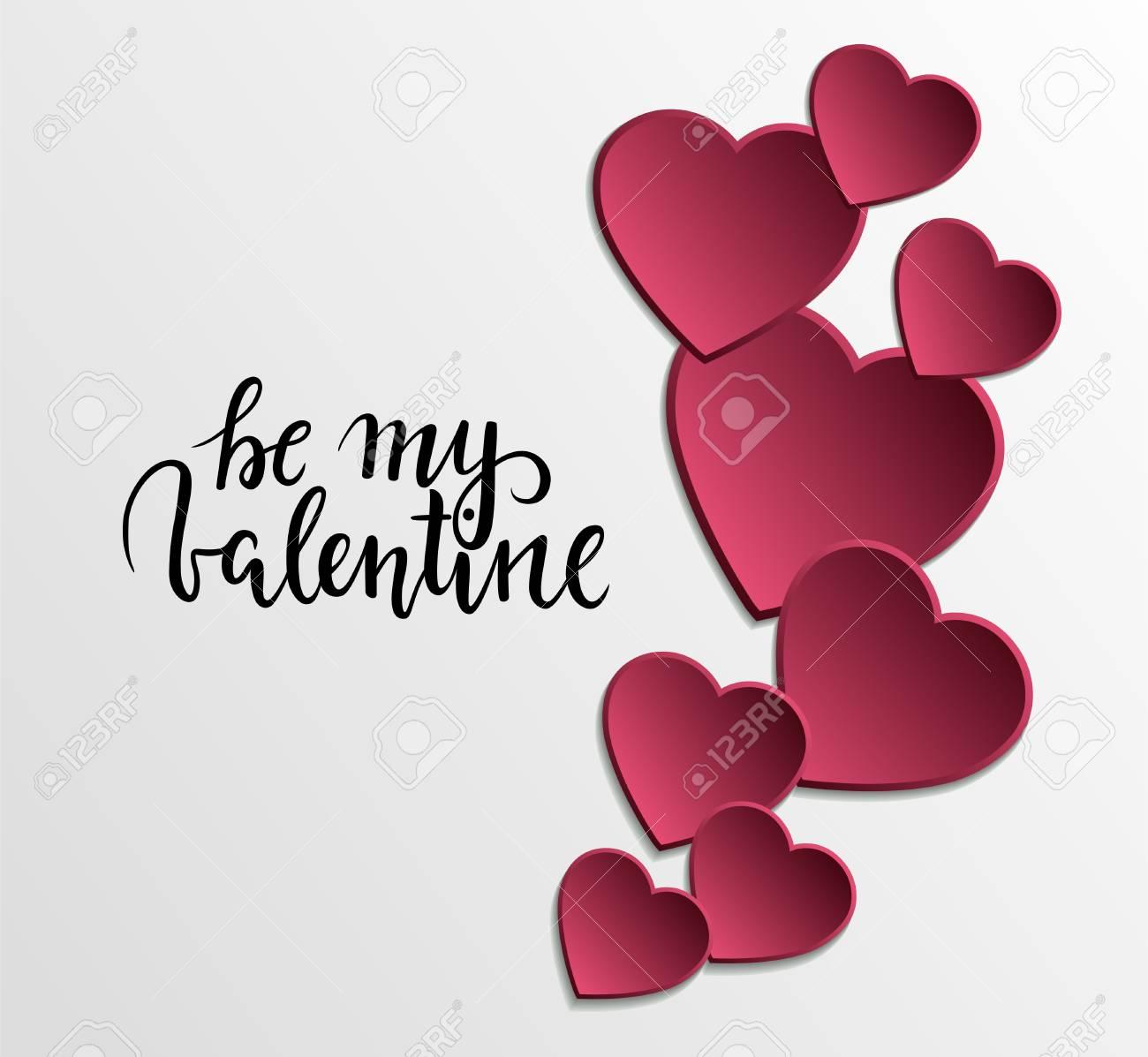 Sei Mein Valentinsschatz Schone Hand Gezeichnete Beschriftung Mit