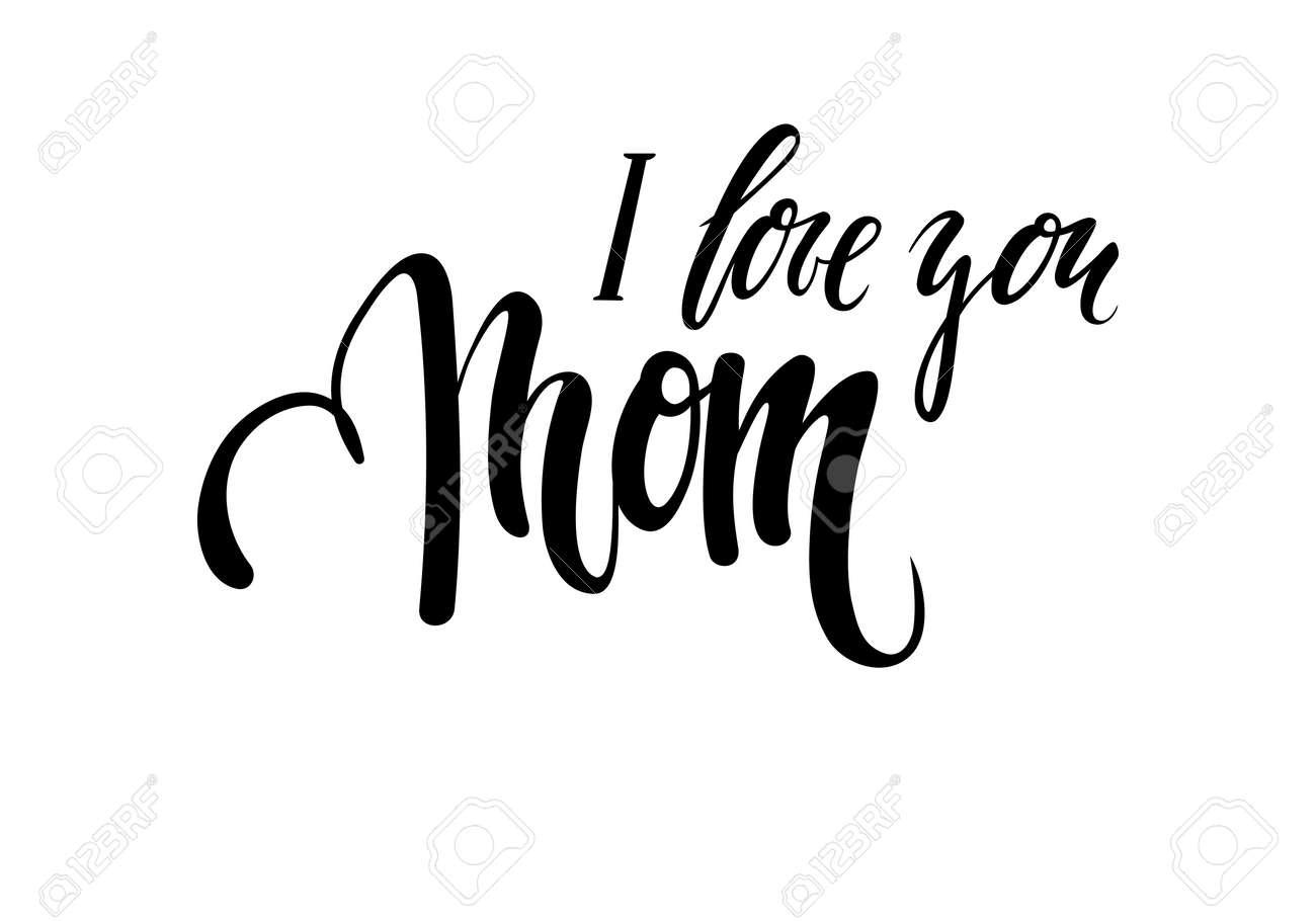 Citation Je Taime Maman Dessinés à La Main Stylo Pinceau Isolé Sur Fond Blanc Conception Pour Carte De Voeux De Vacances Et Invitation De La Fête