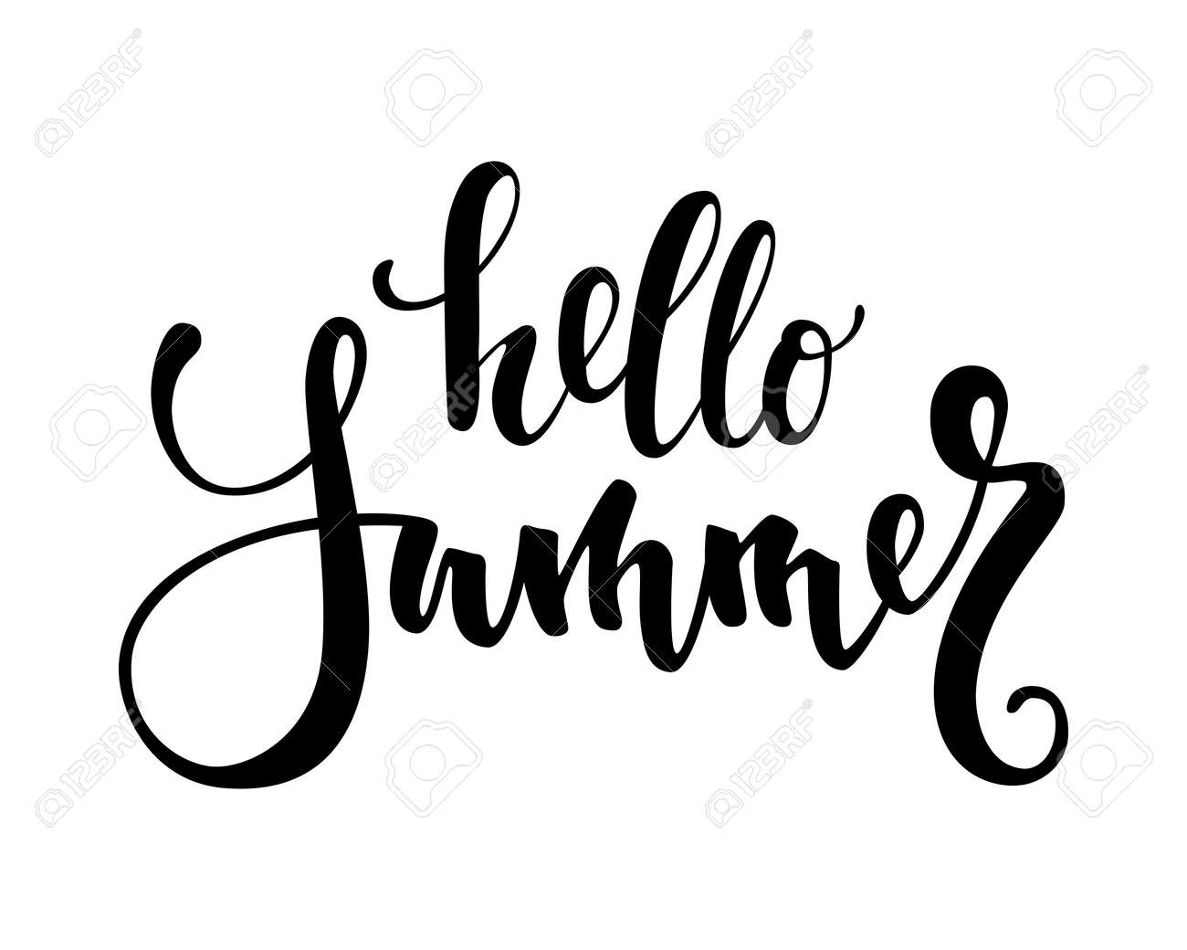 Hello Summer. Hand Drawn Calligraphy And Brush Pen Lettering. Design For Holiday  Greeting Card