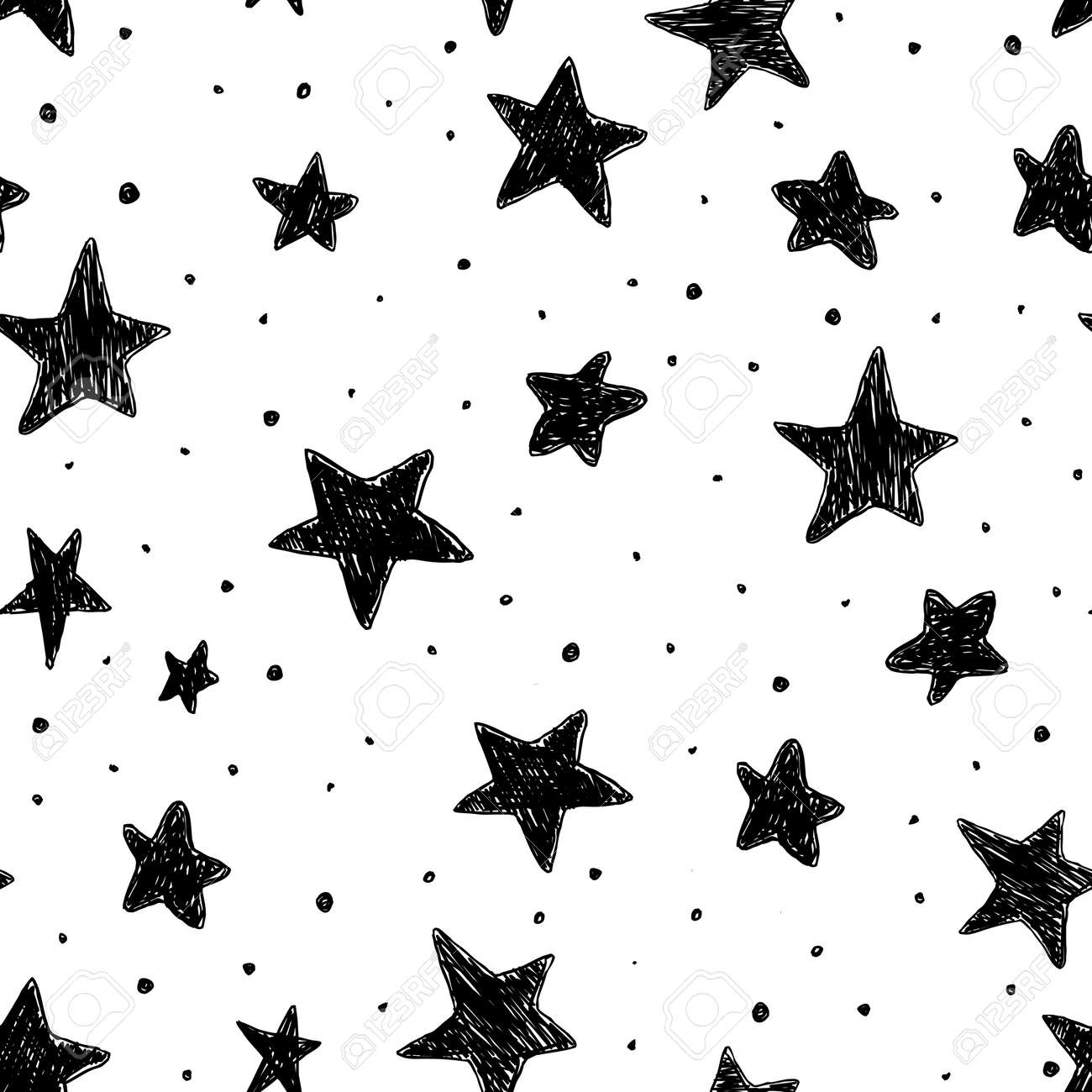 Beautiful monohrome black and white seamless sky pattern with