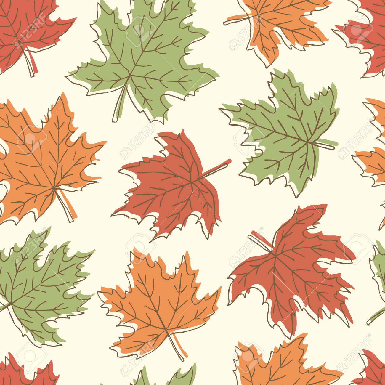 Beautiful Seamless Doodle Pattern With Vintage Maple Leaves Sketch ...