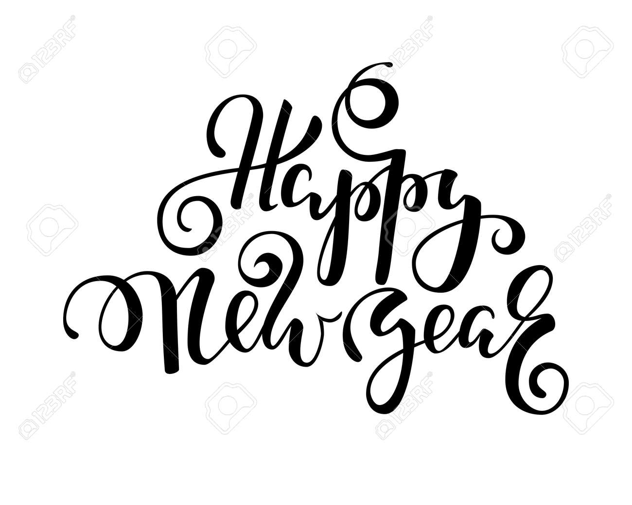 Happy New Year Hand Drawn Creative Calligraphy, Brush Pen Lettering ...