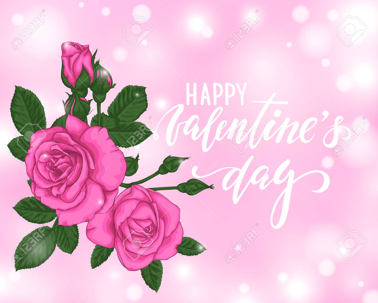 Beautiful Pink Roses With Bokeh Background Happy Valentines