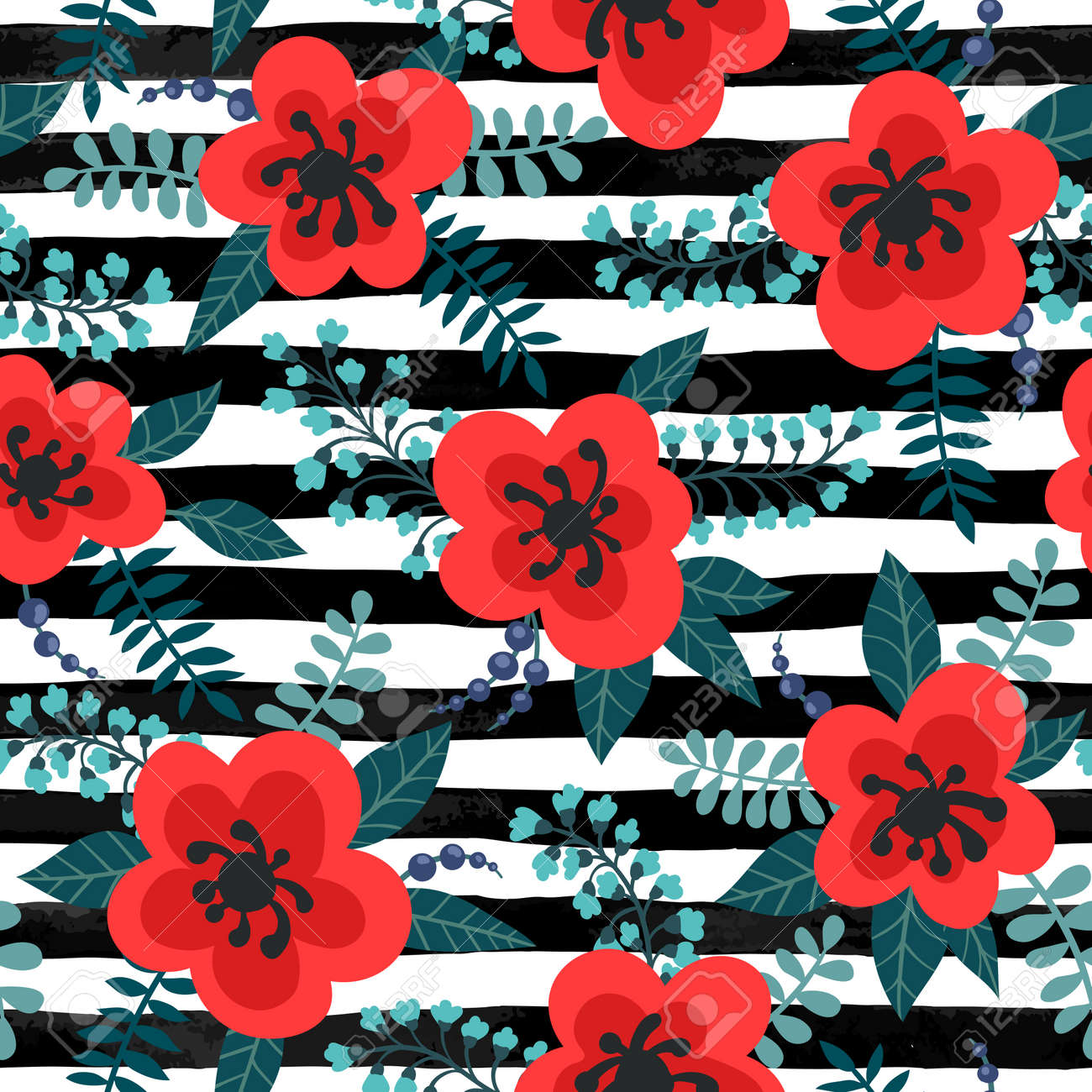 Floral Pattern With Red Flowers And Leaves On A Striped Black
