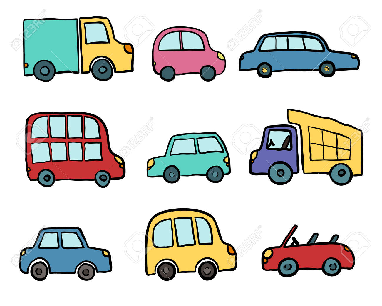 Big Set Of Hand Drawn Cute Cartoon Cars For Kids Design Vector