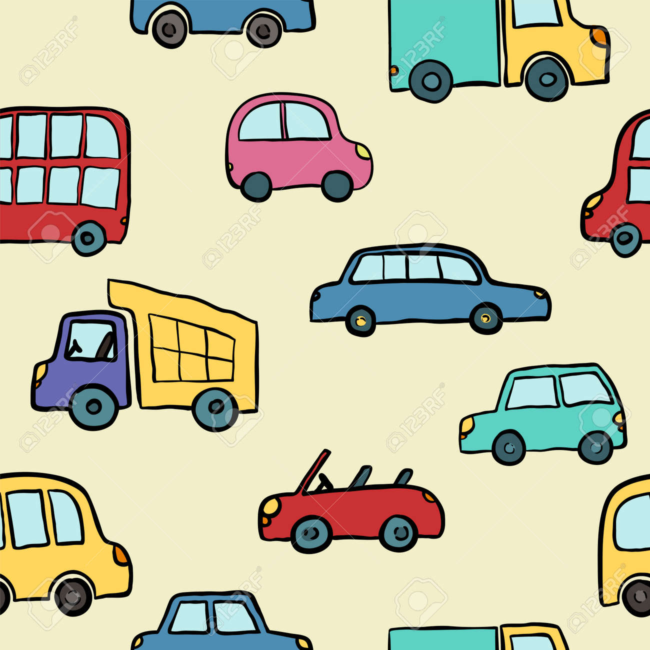 Seamless Pattern Of Hand Drawn Cute Cartoon Cars For Kids Design... Royalty  Free Cliparts, Vectors, And Stock Illustration. Image 105075885.