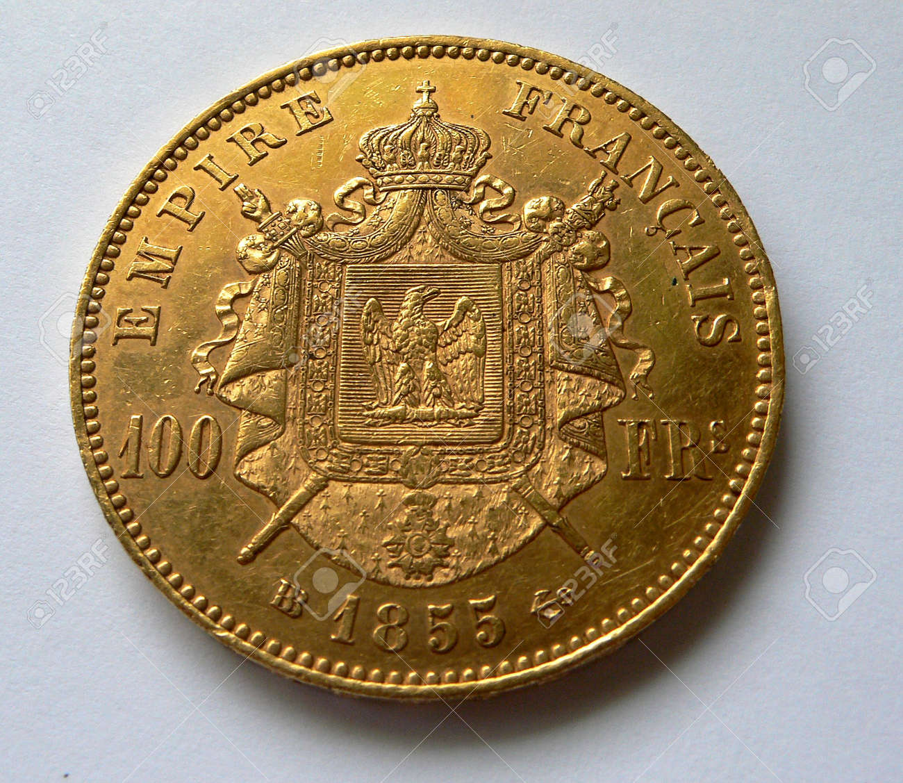 100 Franken Goldmünze Von 1855 Empire Napoleon Lizenzfreie Fotos