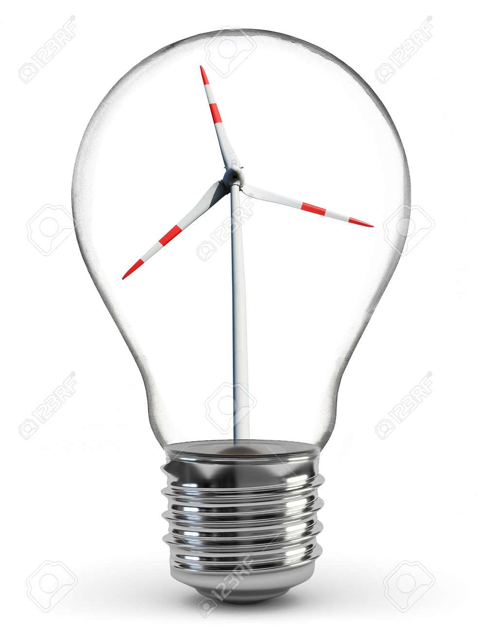 windmill generators inside light bulb over white stock photo