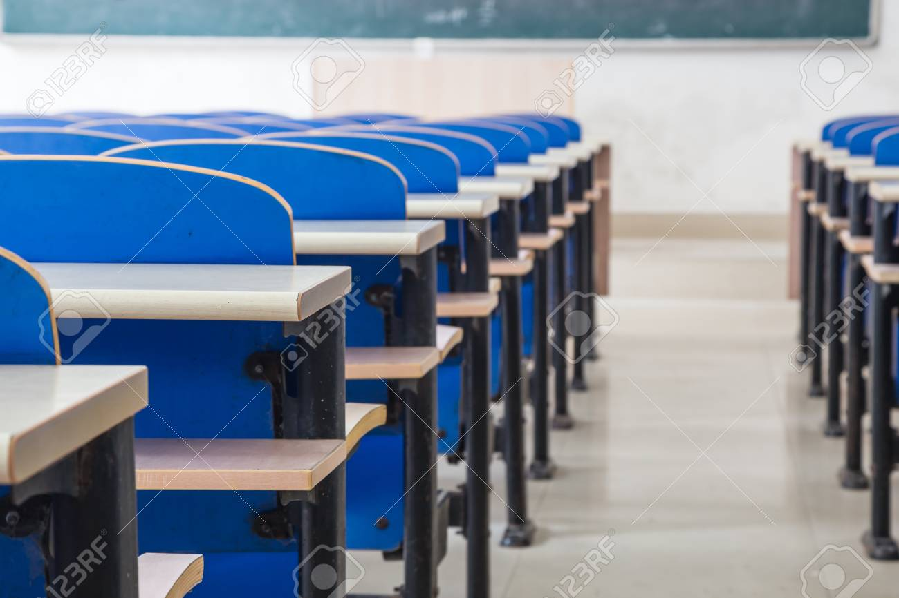 Picture of: Blue Chairs And Tables In A Classroom Stock Photo Picture And Royalty Free Image Image 15945767