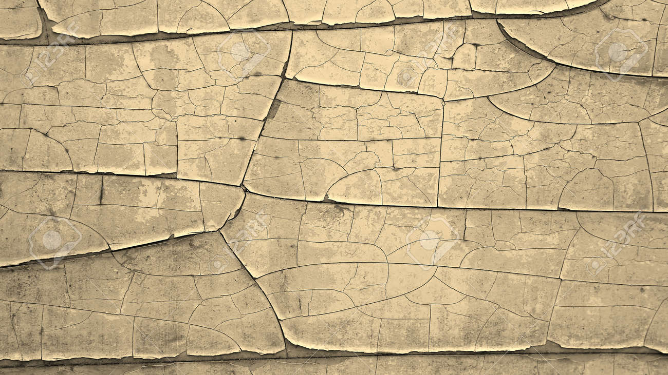 Flaking And Cracked Paint In Sepia - Abstract Art Background Stock ...