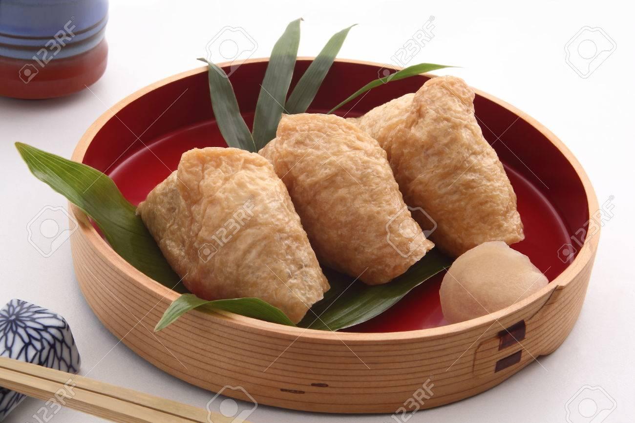 Inari Sushi Wrapped In Fried Tofu Japanese Food Stock Photo