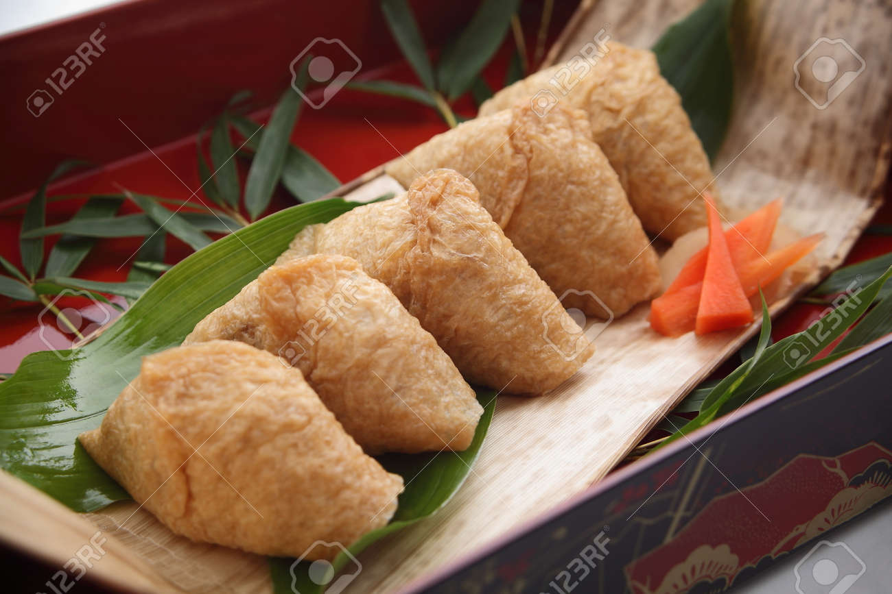 Inari Sushi Wrapped In Fried Tofu In Lunch Box Japanese Food Stock
