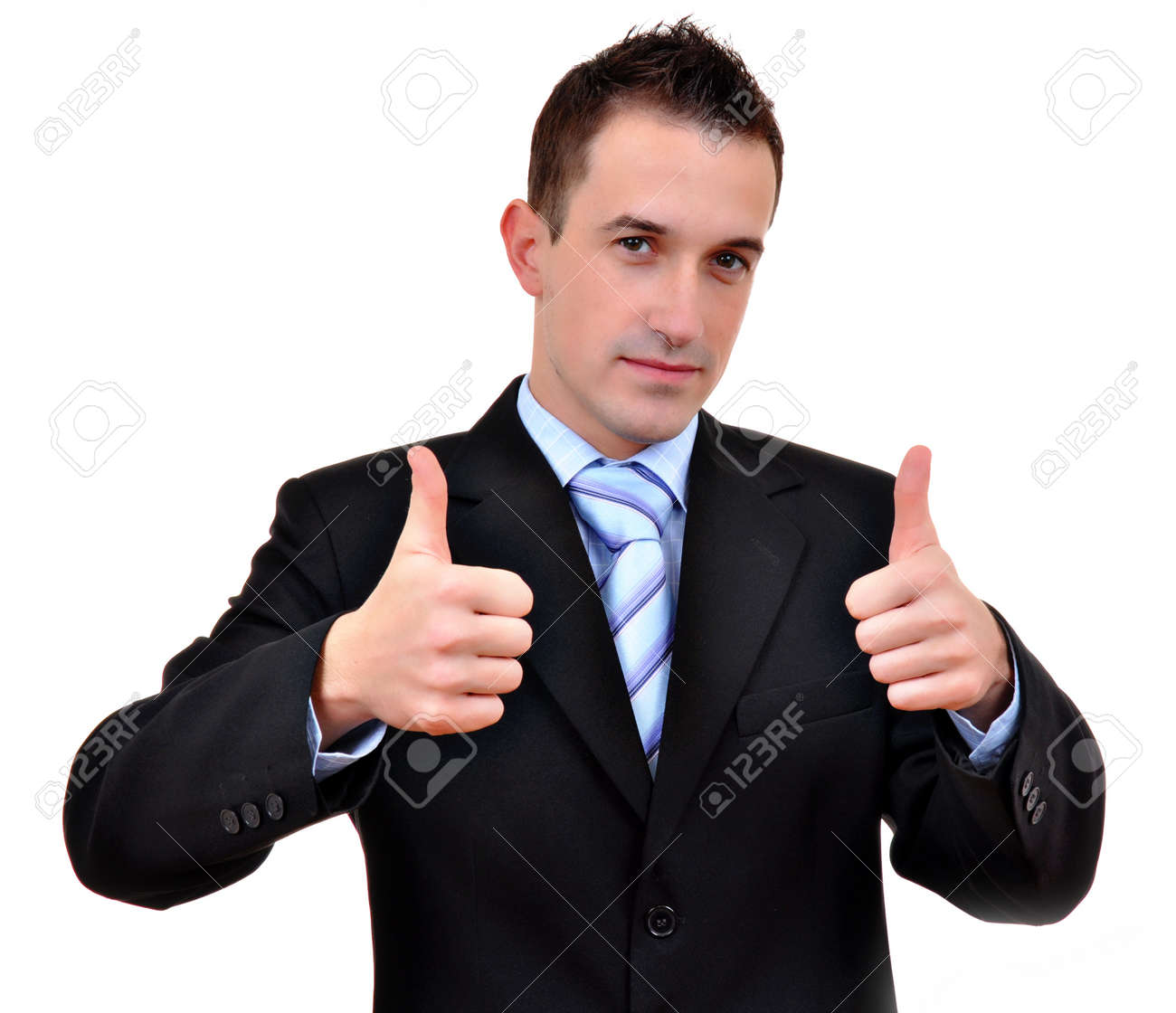 Young happy business man going thumbs up, isolated on white Stock Photo - 12266987