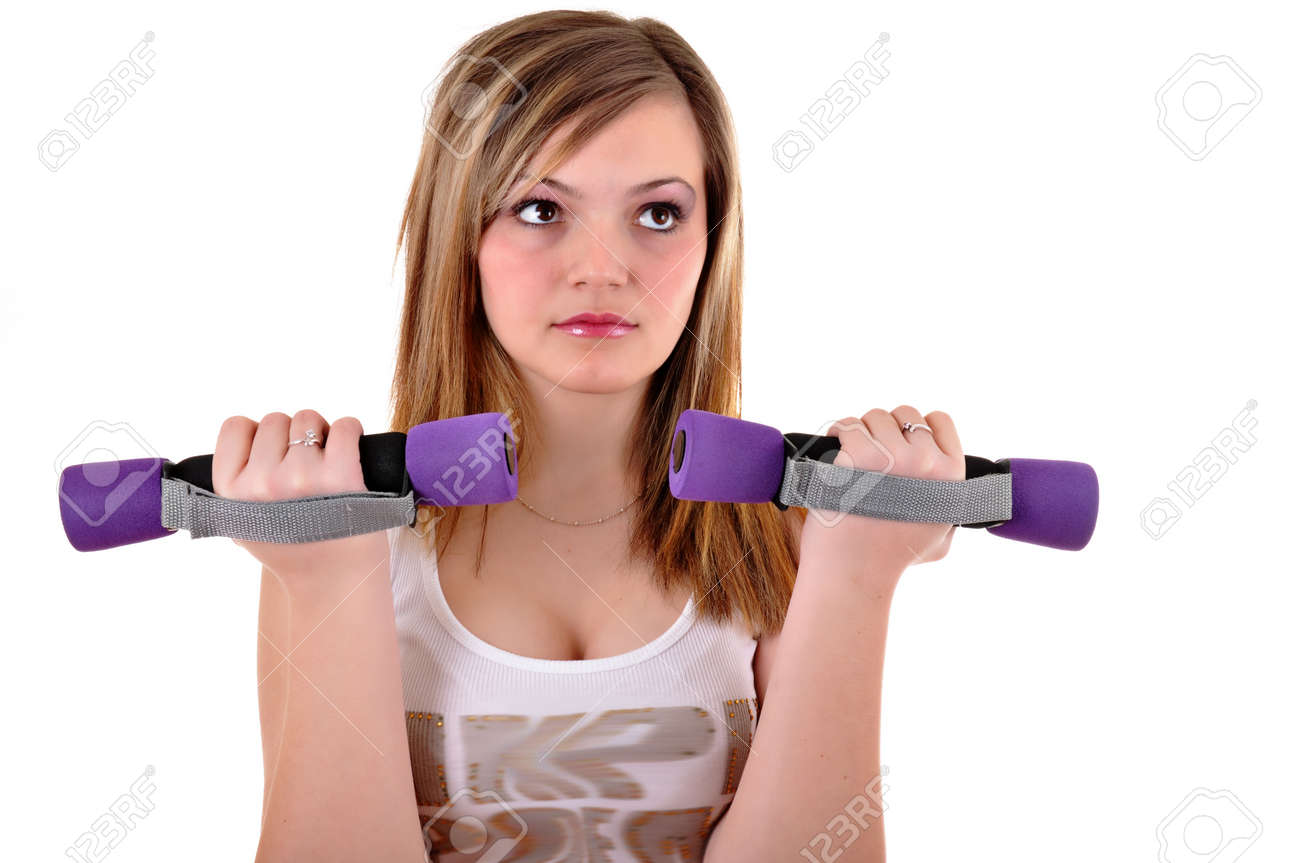 Portrait of fitness woman working out with free weights in gym Stock Photo - 12266863