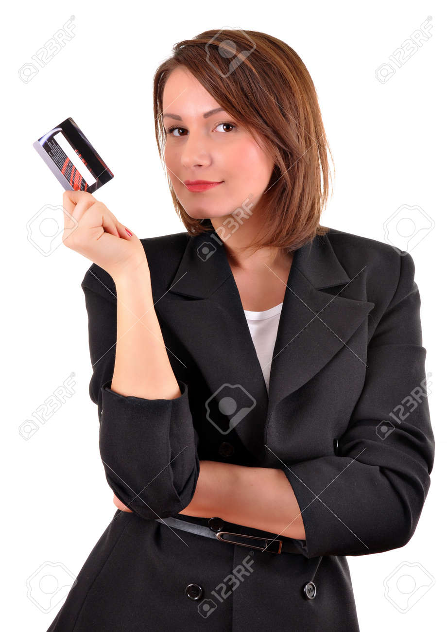 Young woman with a credit card Stock Photo - 12320797
