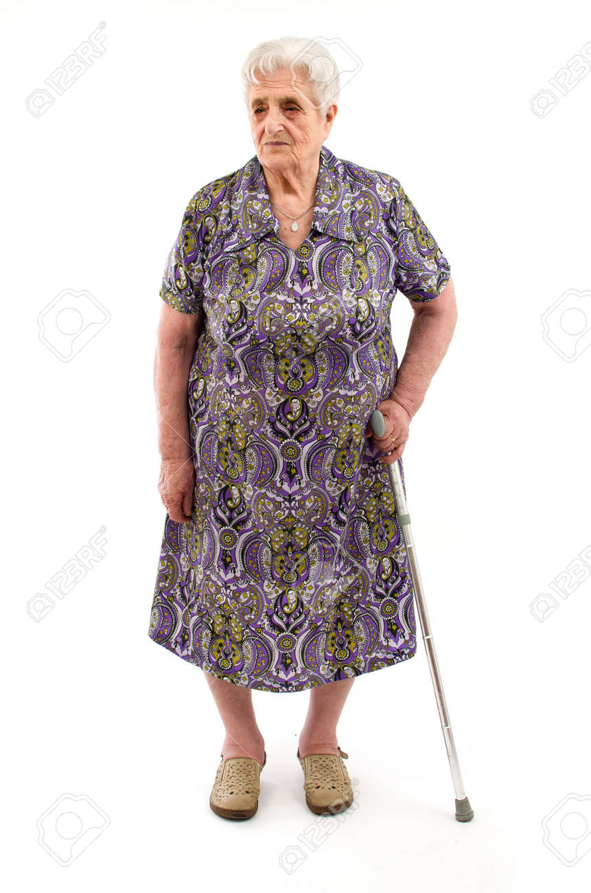 Old Woman on white background Stock Photo - 16305561